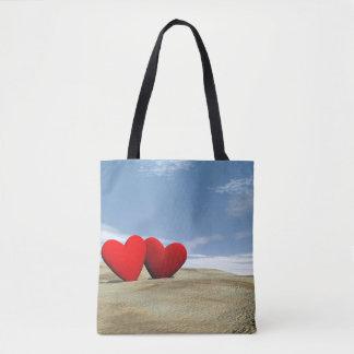 Bolsa Tote Coração dois na praia - 3D rendem