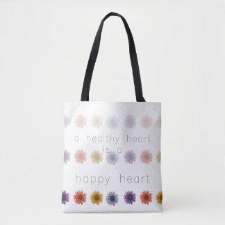 Bolsa Tote Coração feliz saudável por todo o lado na sacola
