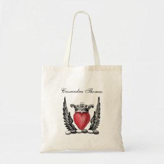 Bolsa Tote Coração heráldico com crista da brasão das asas