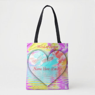 Bolsa Tote Coração Pastel customizável da dama de honra