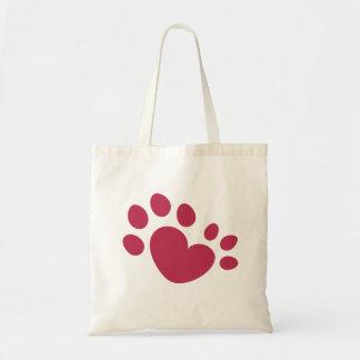 Bolsa Tote Coração Polydactyl do impressão da pata do gato