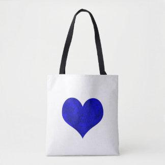 Bolsa Tote Coração real de mármore dos azuis cobaltos