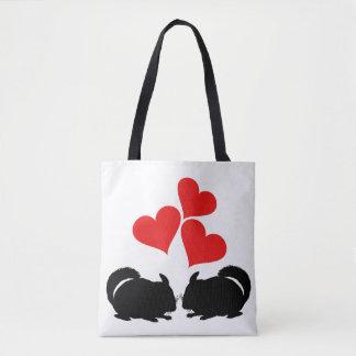 Bolsa Tote Corações & chinchilas
