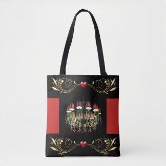 Bolsa Tote Corações do candelabro e sacola vermelhos Jeweled