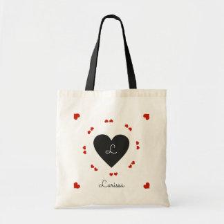 Bolsa Tote corações pretos & vermelhos, românticos