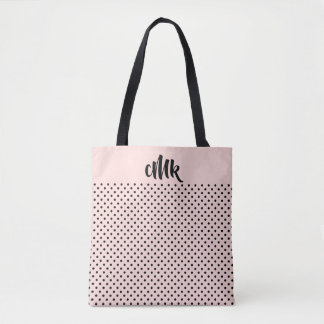 Bolsa Tote Coram as sacolas   pretas cor-de-rosa do monograma