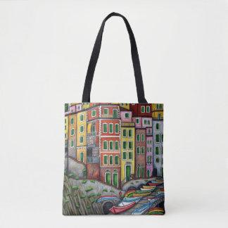 Bolsa Tote Cores do saco de Riomaggiore por Lisa Lorenz