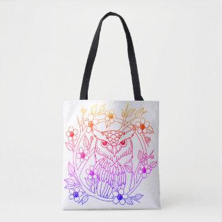 Bolsa Tote Coruja do arco-íris