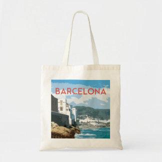 Bolsa Tote Costa de Barcelona, estilo das viagens vintage da