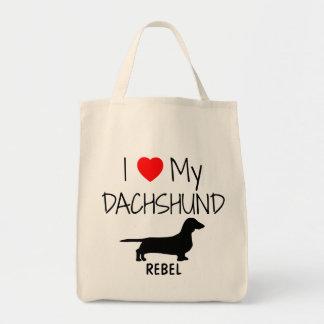 Bolsa Tote Costume eu amo minha sacola do cão do Dachshund