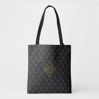 Bolsa Tote Costura acolchoada fino do preto & do ouro