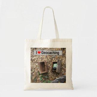 Bolsa Tote Couro cru da caixa de madeira: Geocaching