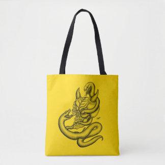 Bolsa Tote Crânio - cabeça do diabo com cobra