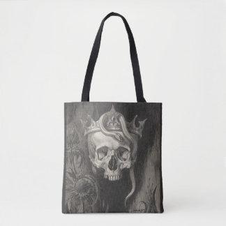 Bolsa Tote crânio com coroa e preto & branco do cobra