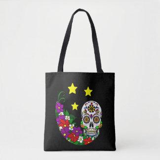 Bolsa Tote Crânio, flores e estrelas do açúcar