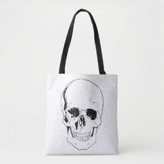 Bolsa Tote Crânio preto assustador afligido do Dia das Bruxas