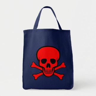 Bolsa Tote Crânio & sacola vermelhos dos Crossbones