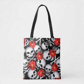 Bolsa Tote Crânios e flores