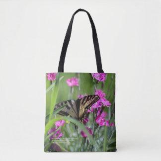 Bolsa Tote Cravo-da-índia cor-de-rosa & borboleta amarela de