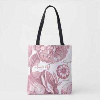 Bolsa Tote Cravos-de-defunto florais do vintage