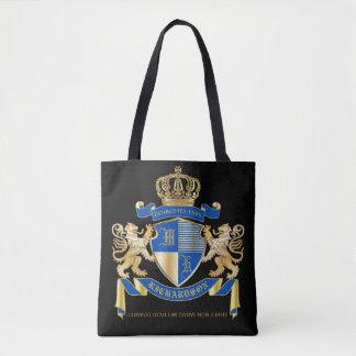 Bolsa Tote Criar seu próprio emblema azul do leão do ouro da