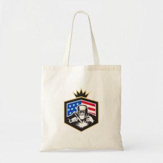 Bolsa Tote Crista da bandeira dos EUA da soldadura de arco do