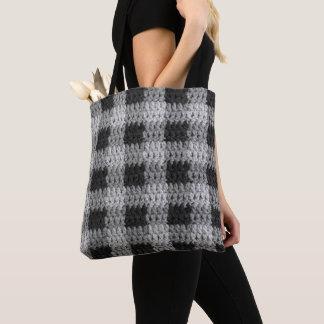 Bolsa Tote Crochet preto da textura da xadrez do negócio das