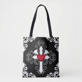 Bolsa Tote Cruz gótico e coração voado