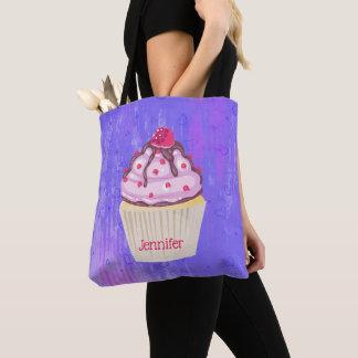 Bolsa Tote Cupcake doce com a framboesa na parte superior