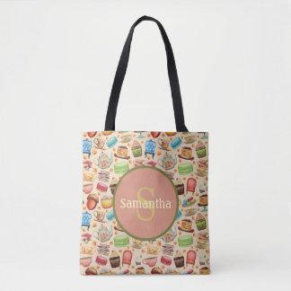 Bolsa Tote Cupcakes & bules coloridos personalizados do