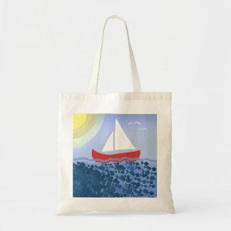 Bolsa Tote Da luz do sol azul do mar profundo do verão barco