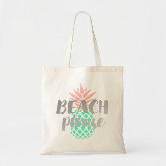 Bolsa Tote da praia caligrafia por favor no abacaxi