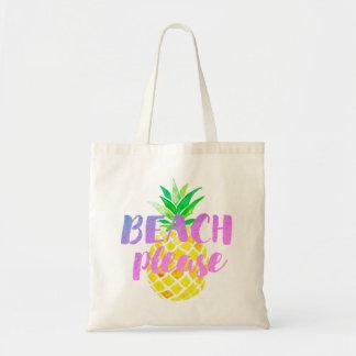 Bolsa Tote da praia caligrafia por favor no abacaxi da