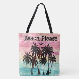 Bolsa Tote Da praia palmeiras e praia da aguarela por favor