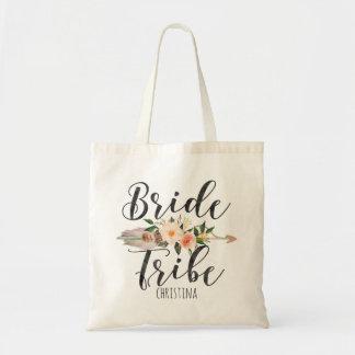 "Bolsa Tote Da ""seta floral da pena do tribo noiva"""