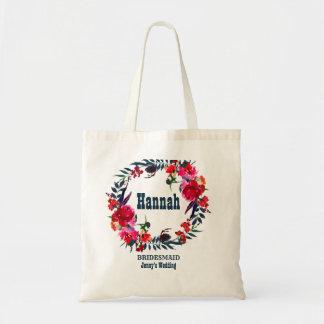 Bolsa Tote Dama de honra boémia floral vermelha personalizada
