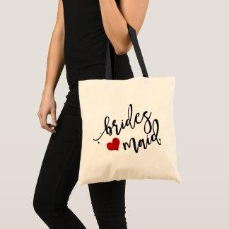 Bolsa Tote Dama de honra de PixDezines/coração/roteiro