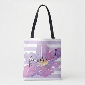 Bolsa Tote Dama de honra floral da lavanda violeta da