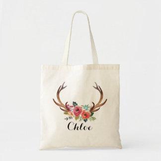 Bolsa Tote dama de honra floral do chifre dos cervos, favor
