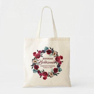 Bolsa Tote Dama de honra floral vermelha personalizada da