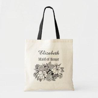 Bolsa Tote Dama de honra nupcial floral branca preta com nome