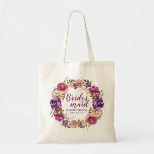 Bolsa Tote Dama de honra personalizada floral roxa Totebag