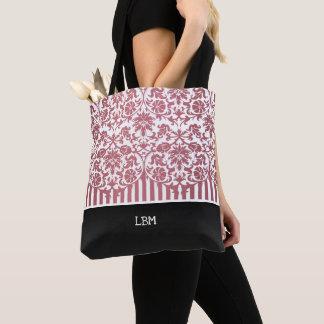 Bolsa Tote Damasco e listras cor-de-rosa florais bonitos