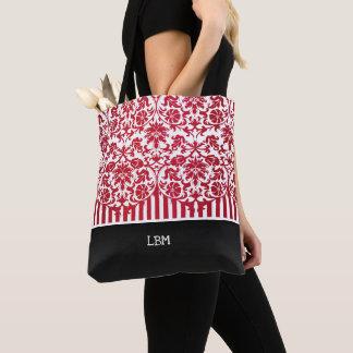 Bolsa Tote Damasco e listras vermelhos florais bonitos