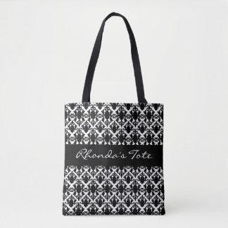 Bolsa Tote Damasco preto e branco personalizado