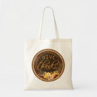 Bolsa Tote Dê obrigados, serapilheira costurada rústica