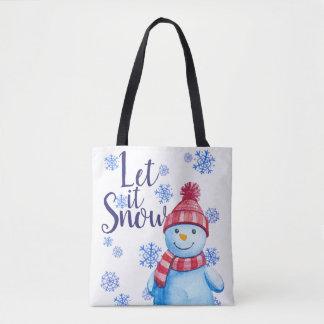Bolsa Tote Deixais lhe para nevar boneco de neve com flocos