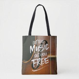 Bolsa Tote Deixe a música ajustá-lo livre modelo da foto do