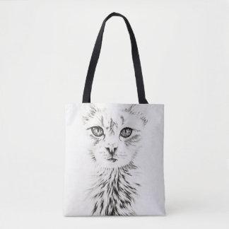 Bolsa Tote Desenho da arte animal do gato branco na sacola