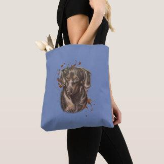 Bolsa Tote Desenho da arte e da pintura do cão do Dachshund
